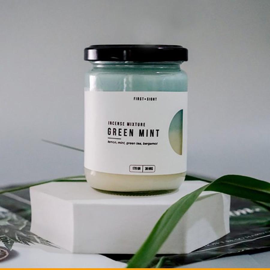 Nến 2 Tầng Incense Mixture Green Mint hương Chanh Tươi - Bạc Hà - Trà Xanh - Cam Khô
